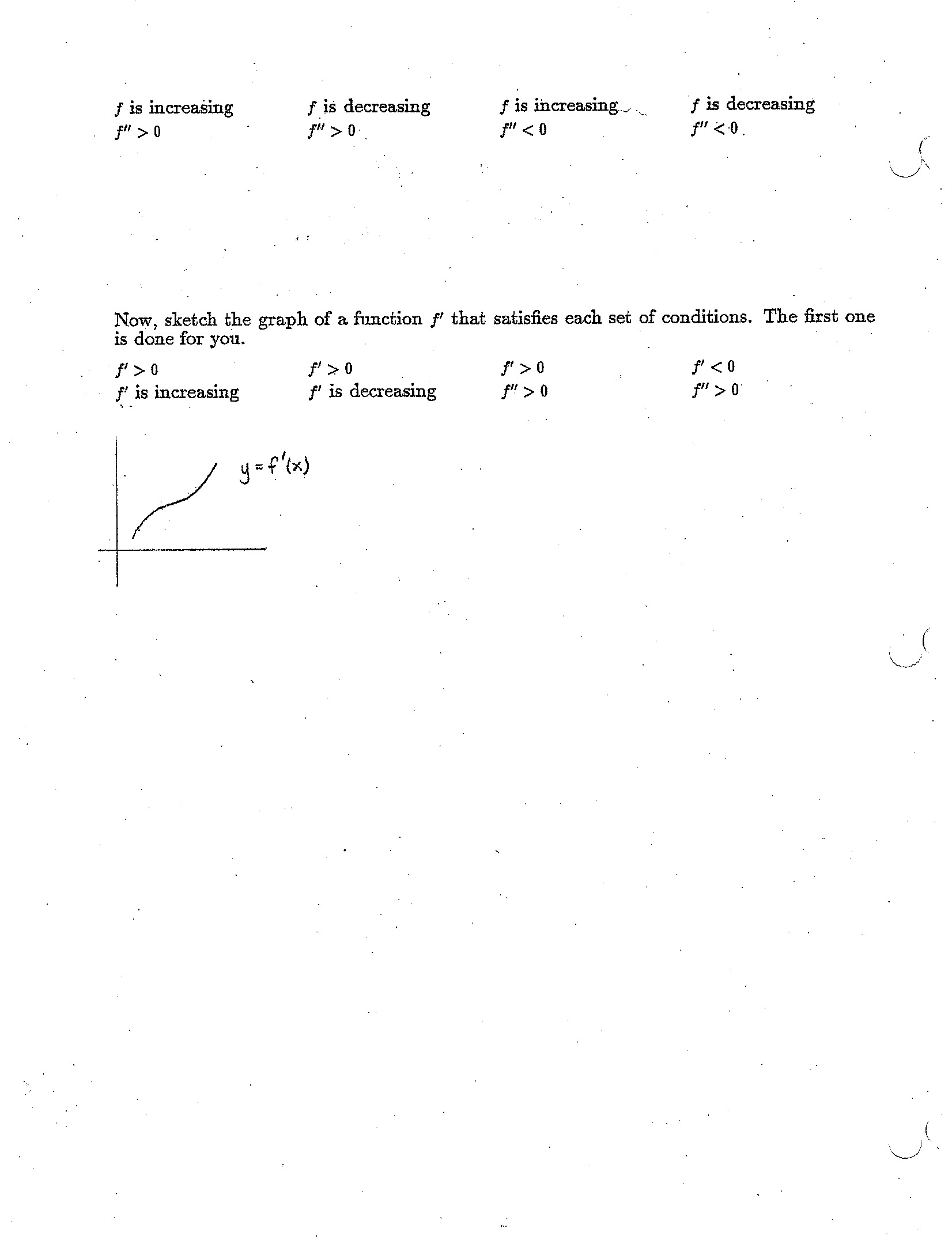 worksheet Second Derivative Worksheet calculus i mathematics daily syllabus practice with functionfirst derivativesecond derivative behavior worksheet