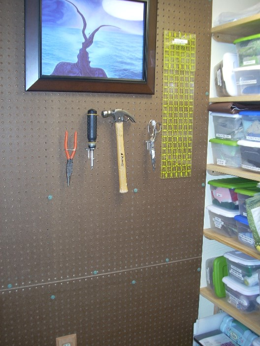 The Wall Of Pegboard Continues On The Other Side Of The (non Existent) Door.  (We Decided Against Any Door Or Curtain For This Space.